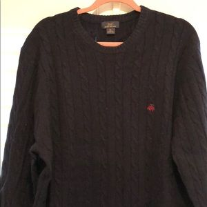 Navy Brooks Brothers cable knit sweater